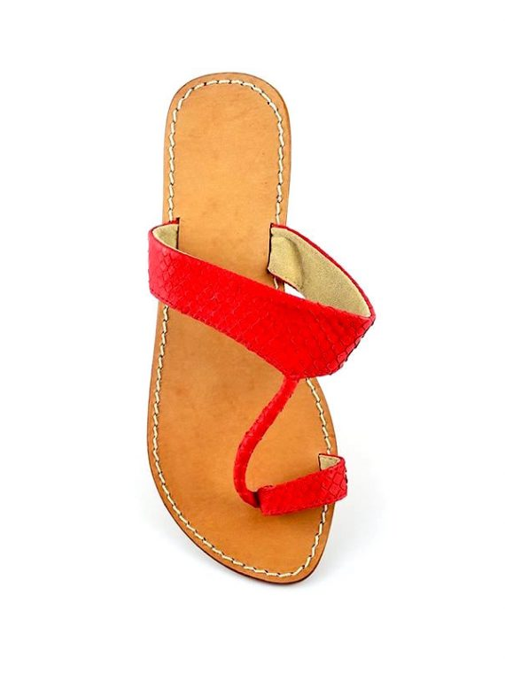 Athena sandals in red python leather house of sheens