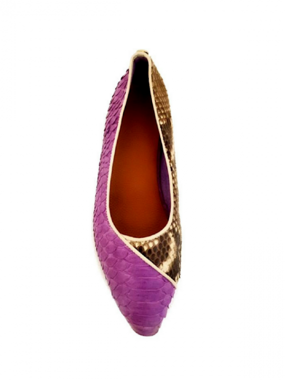 Bella Flats Purple python leather house of sheens