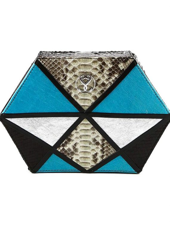 fuerte blue clutch house of sheens python leather