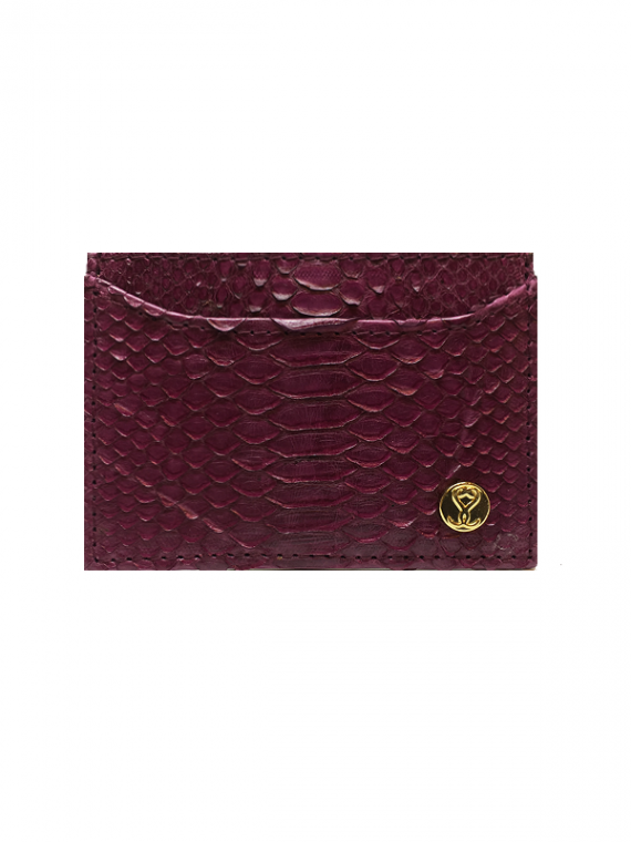 Cardholder Magenta Python Leather House of Sheens