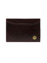 Cardholder Deep Burgundy Python Leather House of Sheens