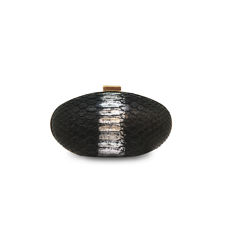 ava clutch black silver python leather house of sheens