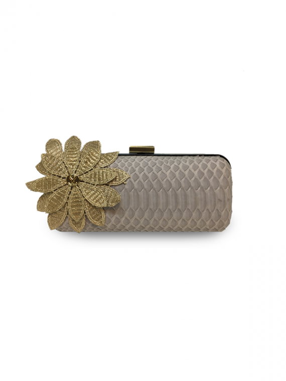 ava festive biege flower clutch house of sheens python leather
