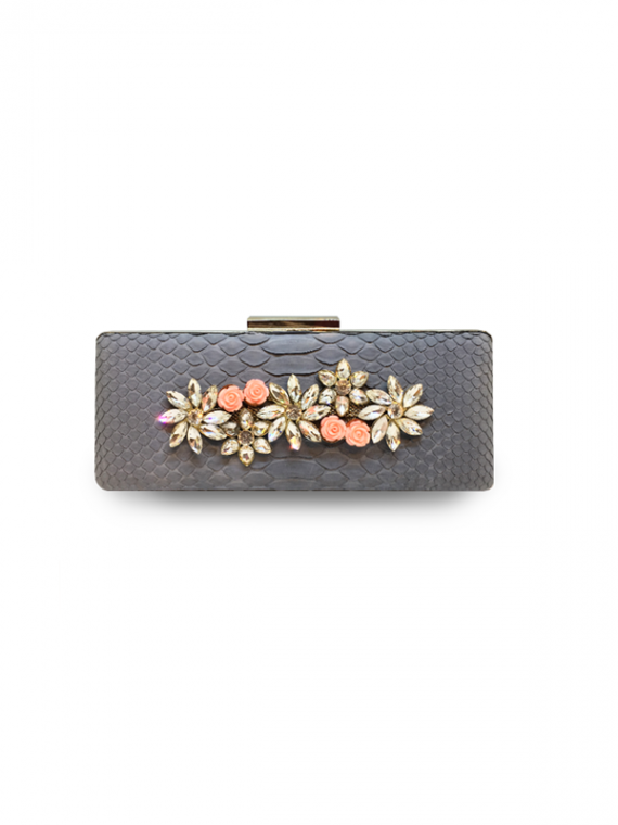 ava festive clutch pink flowers python leather house of sheens