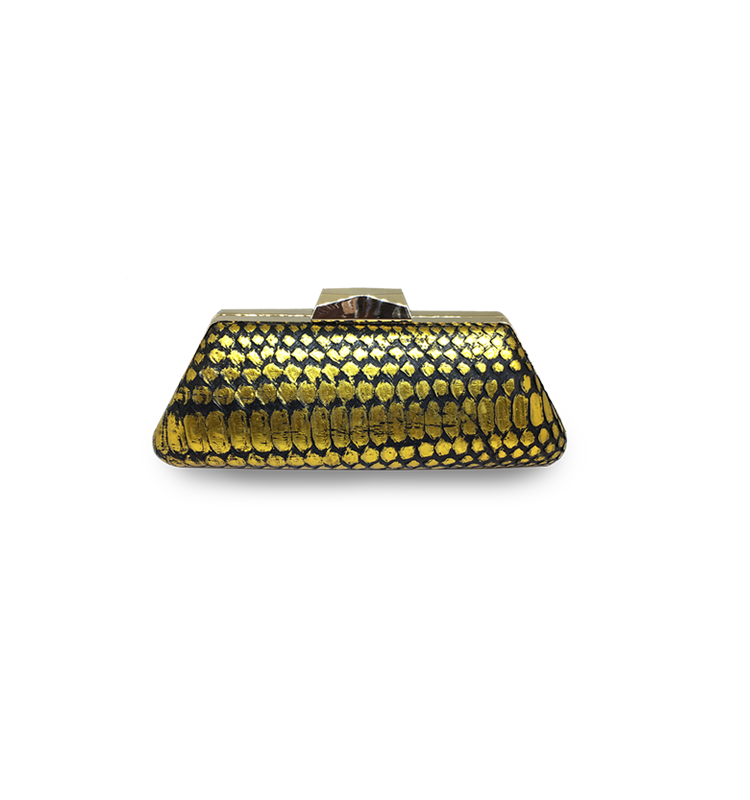 ava black and gold trapezium clutch python leather house of sheens