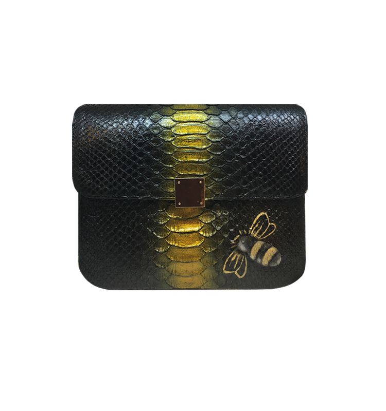 Bee WoW Large Black with Gold Python Leather House of Sheens