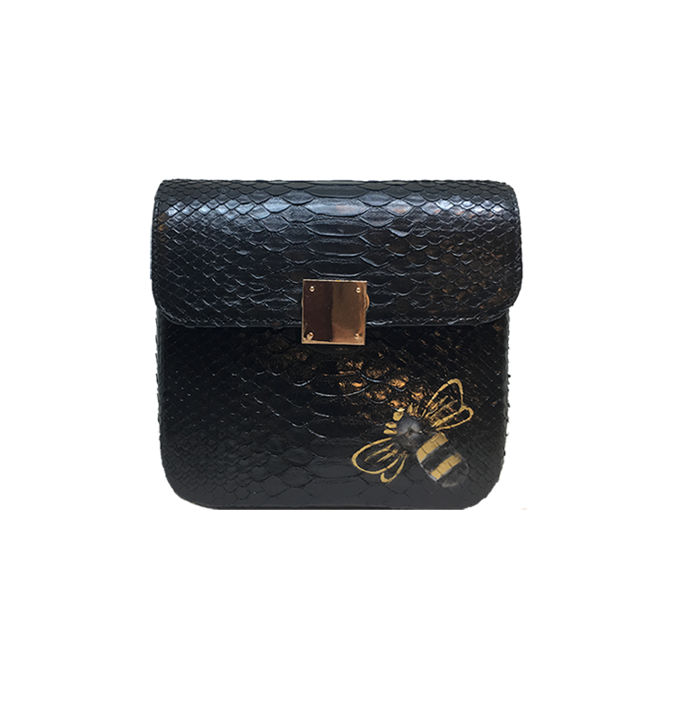 Bee WoW Mini Black Python Leather House of Sheens