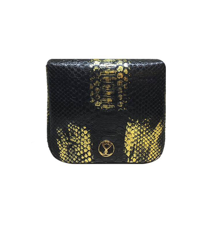 Bee WoW Mini Black with Gold Streaks python leather house of sheens