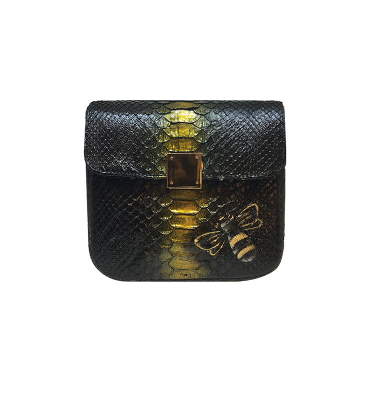 Bee WoW Mini Black with Gold python leather house of sheens