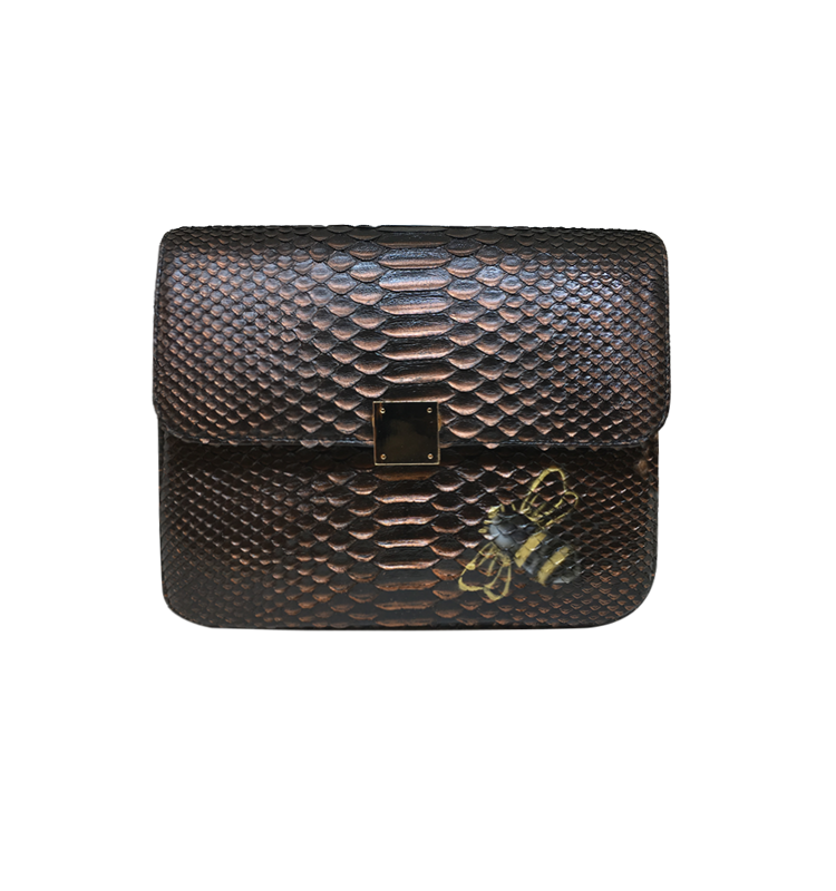 Bee WoW Large Copper-1 House of Sheens Python Leather