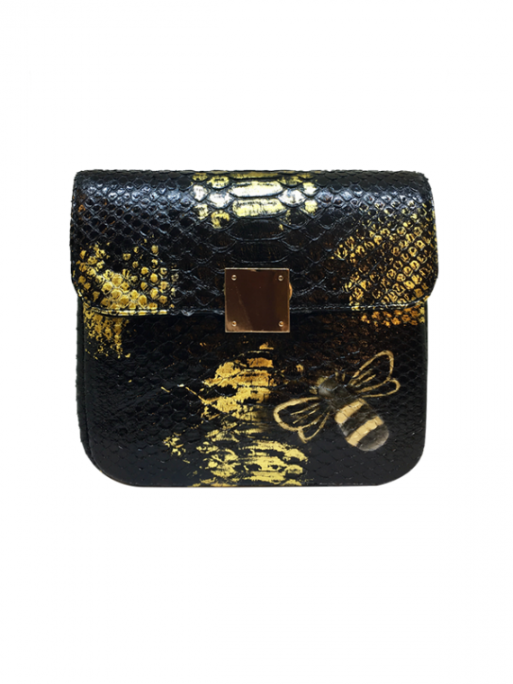 Bee-WoW-Mini-Black-Gold-Streaks-1 House of Sheens Python Leather