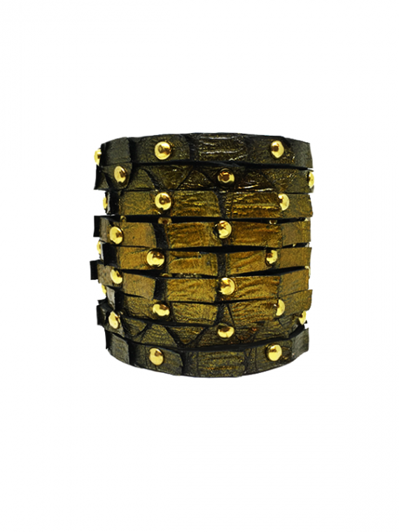 Black Glossy Gold Studded Cuff python leather house of sheens