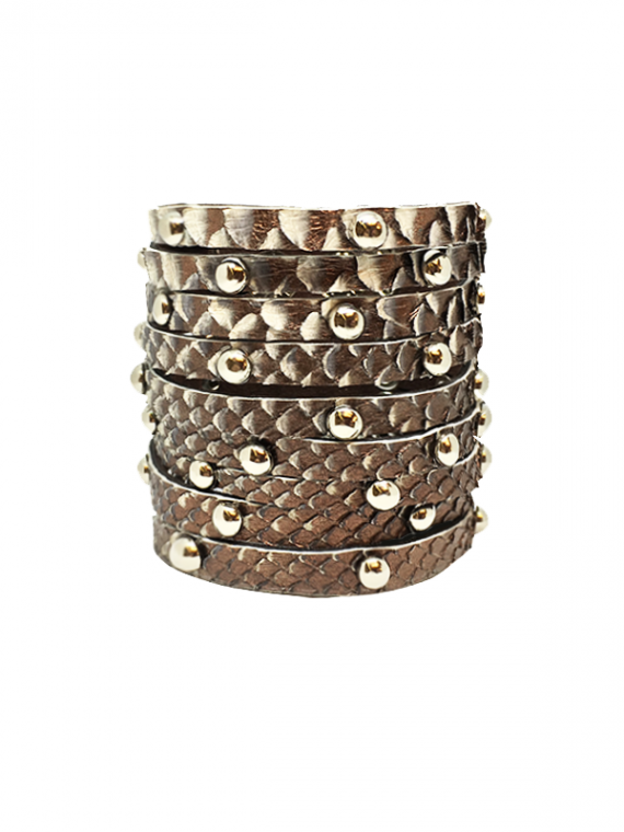 Light Copper Silver-Studded Cuff