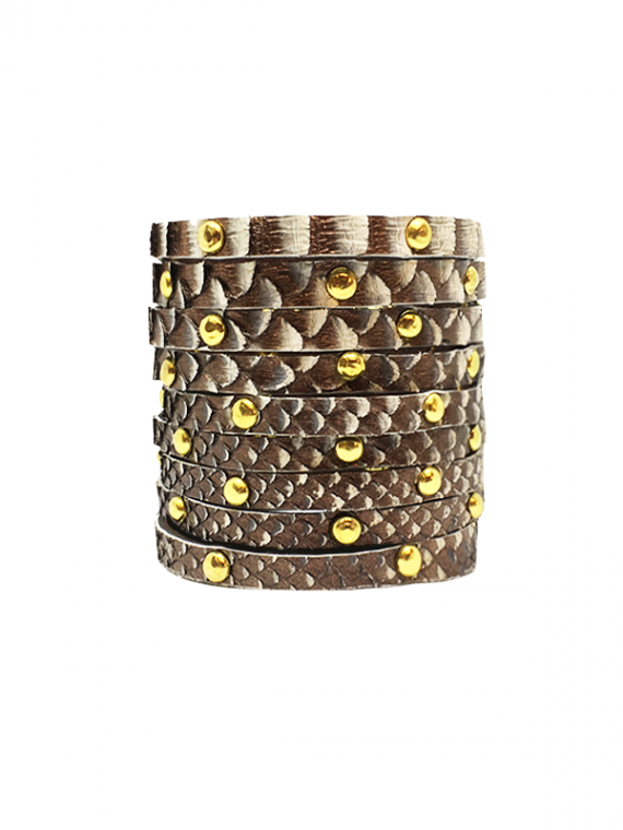 Light Copper Gold-Studded Cuff