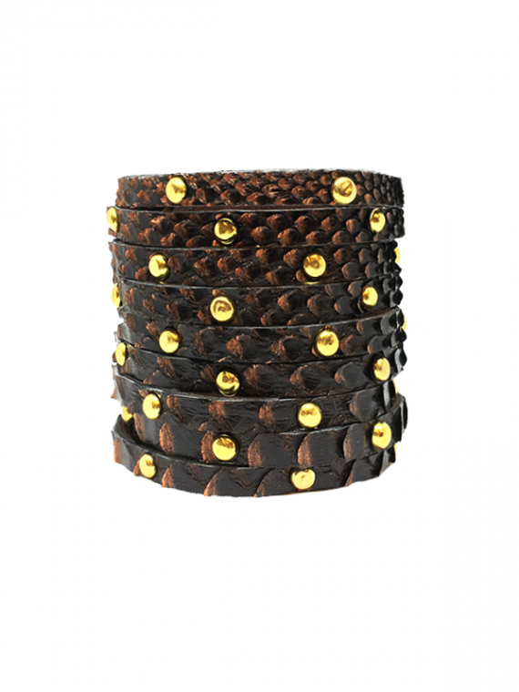 Dark Copper Gold-Studded Cuff