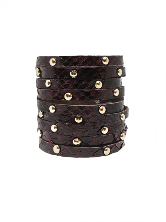 Burgundy Silver-Studded Cuff python leather house of sheens