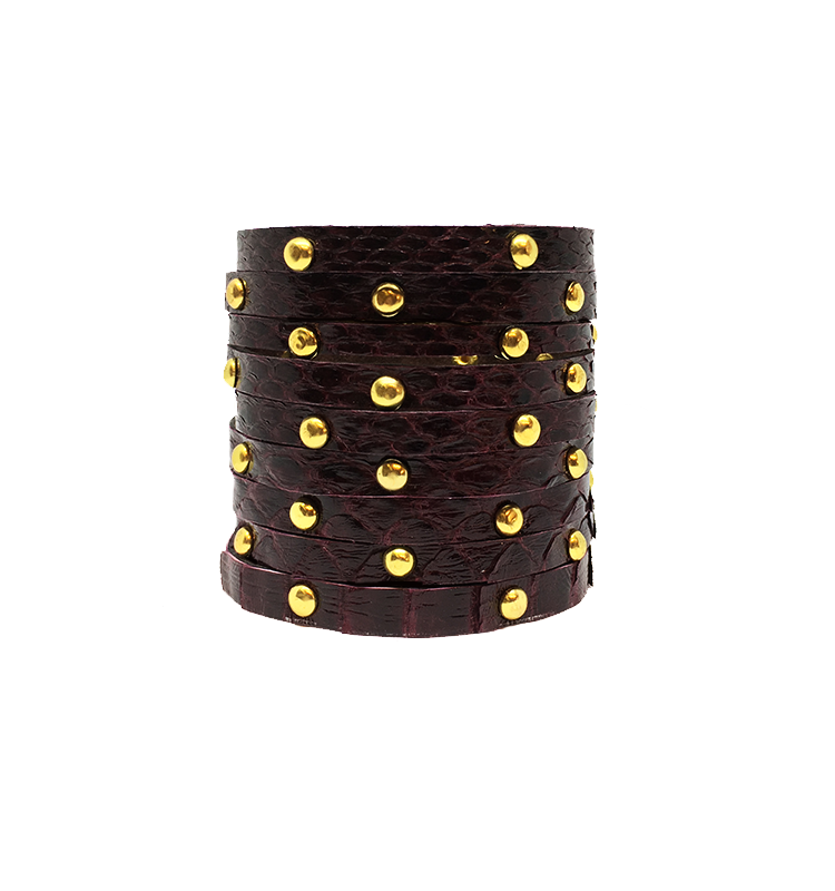 Burgundy Gold-Studded Cuff