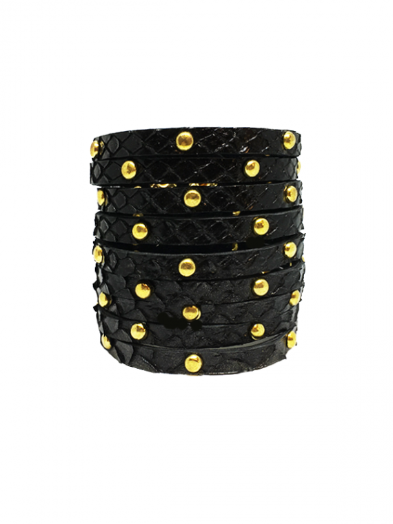 Black Golf-Studded Cuff python leather house of sheens