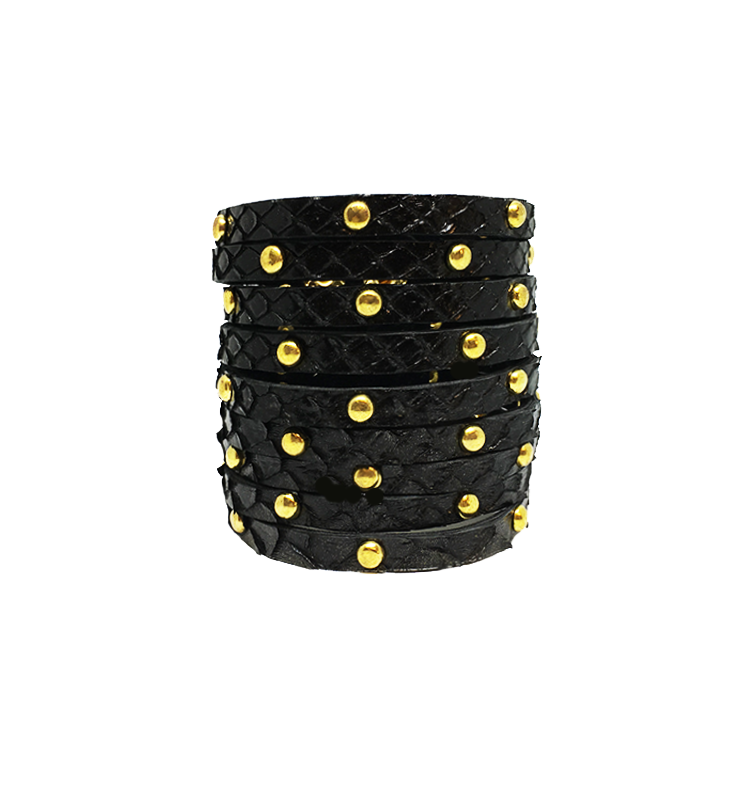 b0ce68a83e7 Black Golf-Studded Cuff python leather house of sheens