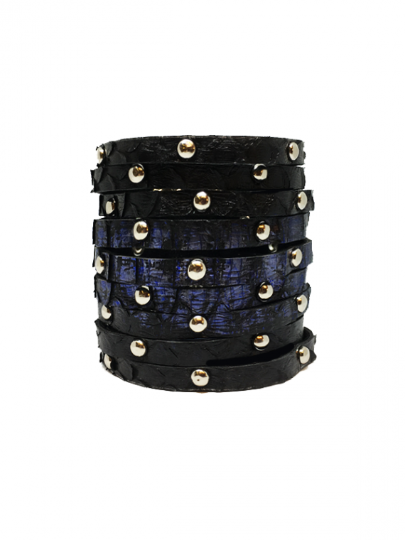 Black and Blue Silver-Studded Cuff