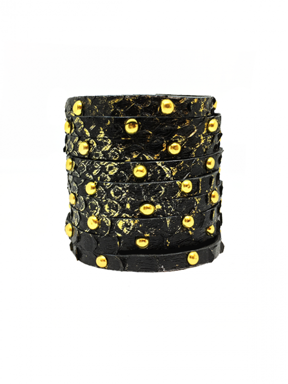 Black Gold Accents Studded Cuff Python Leather House of Sheens