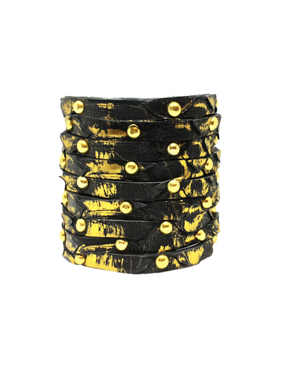 Black Gold streaks Studded Cuff