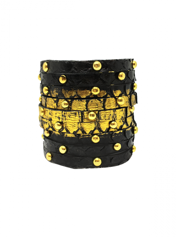 Black with Gold Studded Cuff