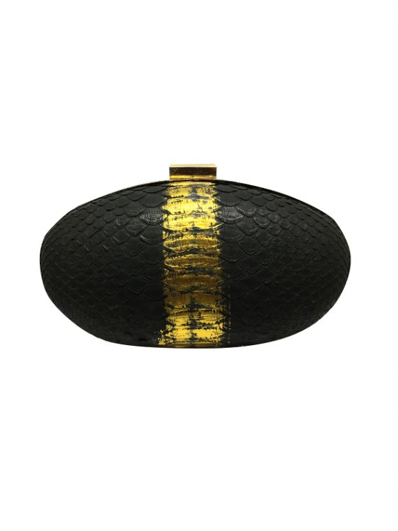 Ava black gold python leather clutch house of sheens