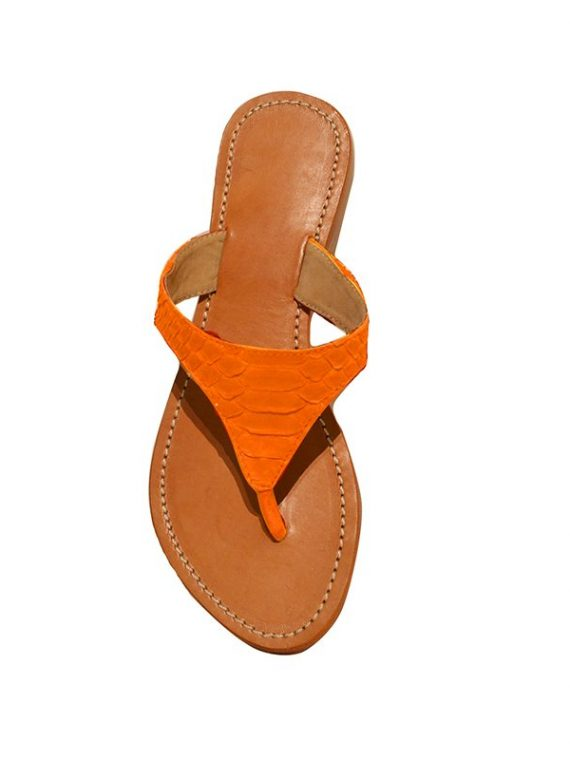 Ensoleillé sandals orange python leather house of sheens