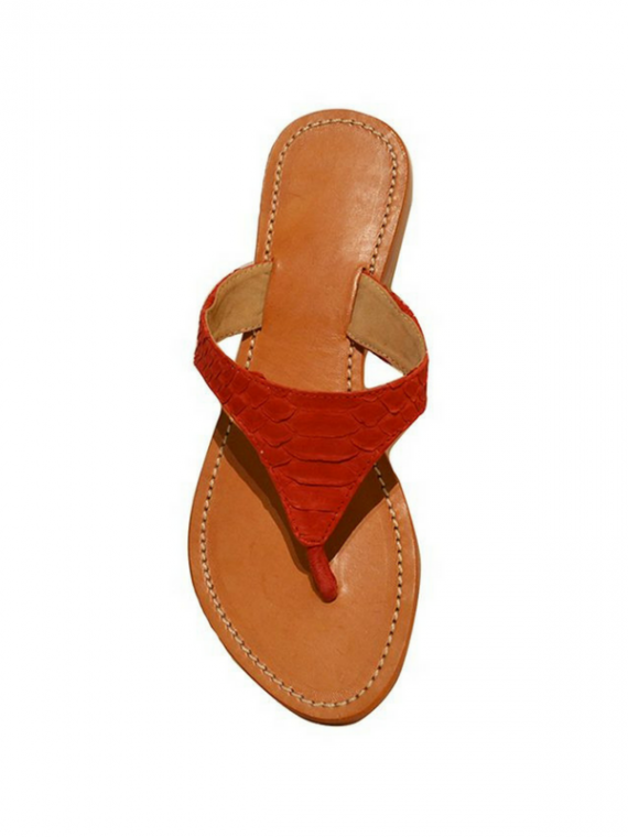 ENSOLLEILÉ SANDALS IN RED house of sheens python leather