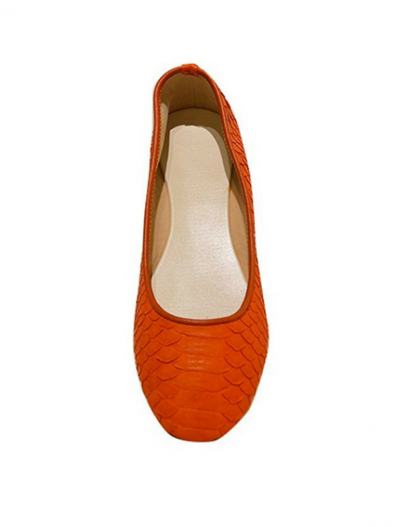 house of sheens CLASSIC SHEENS FLATS IN ORANGE python leather