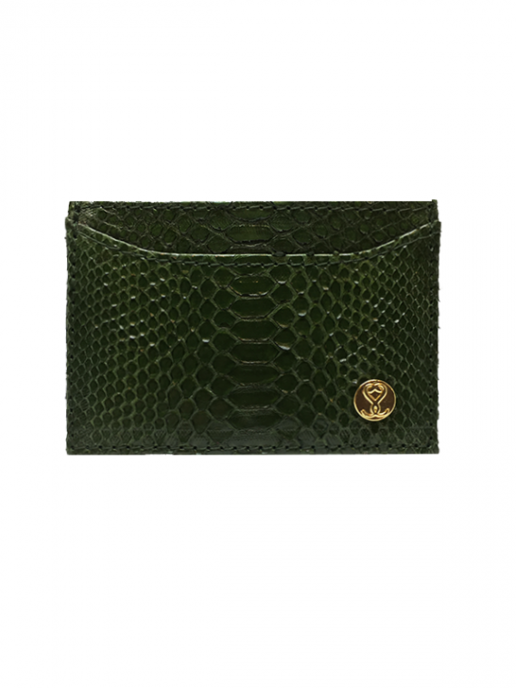 Cardholder Emerald Green Python Leather House of Sheens