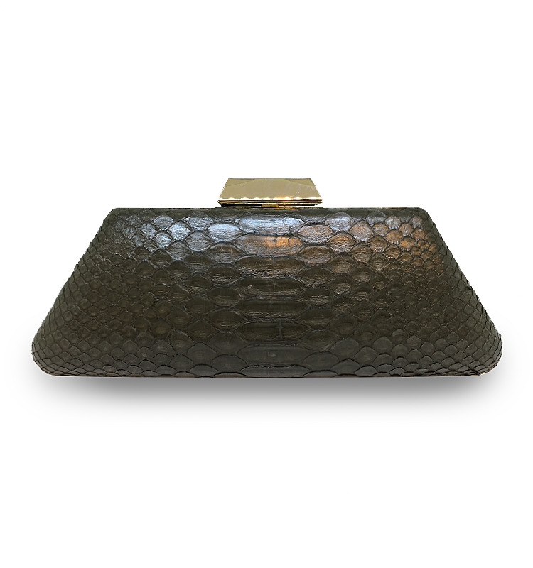 ava classic clutch vintage green gold house of sheens python leather singapore