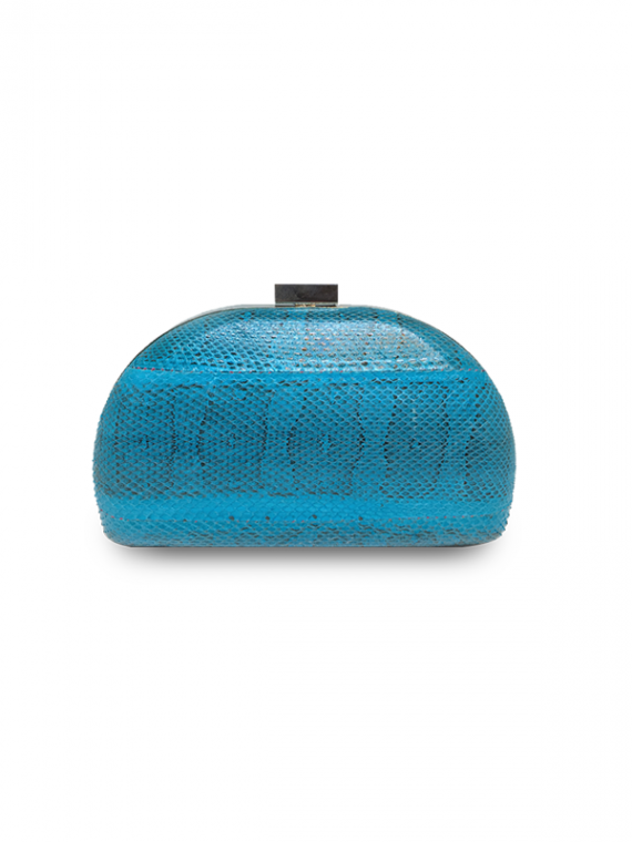 ava fan clutch blue python leather house of sheens