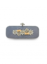 ava festive clutch biege flowers python leather house of sheens