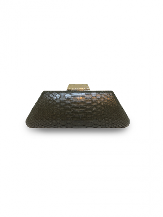 ava classic green clutch house of sheens python leather