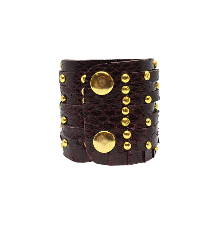 Burgundy Gold-Studded Cuff python leather house of sheens