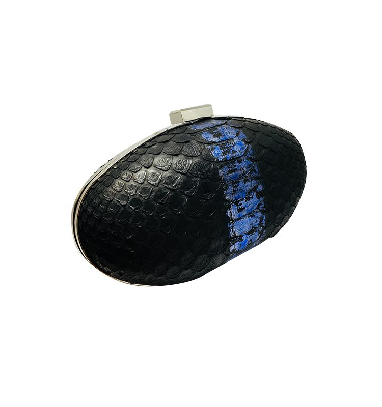Ava black blue python leather clutch house of sheens